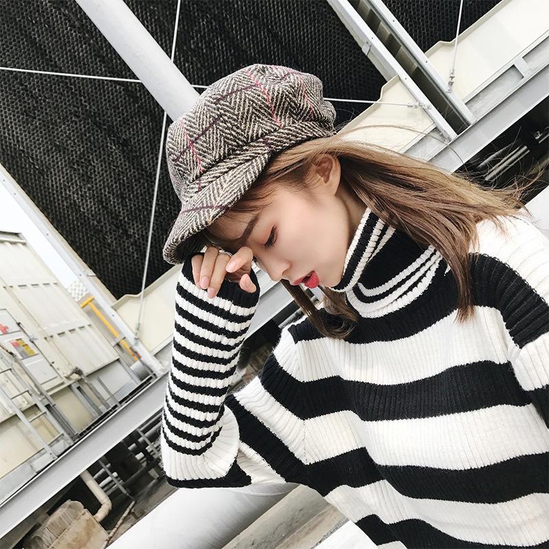 Großhandel neue weibliche hahnstocher achteTagagonale hüte trend klassische plaid maler hut rosa nette basken black winter hüte w1223