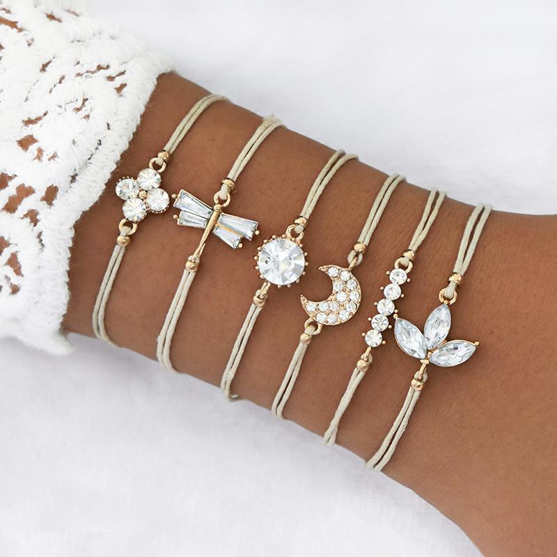 LEATAPI 6 шт. / Установить BOHO сплетенные многослойные кожаные браслеты набор Crystal Moon цветок листья браслет для женщины1