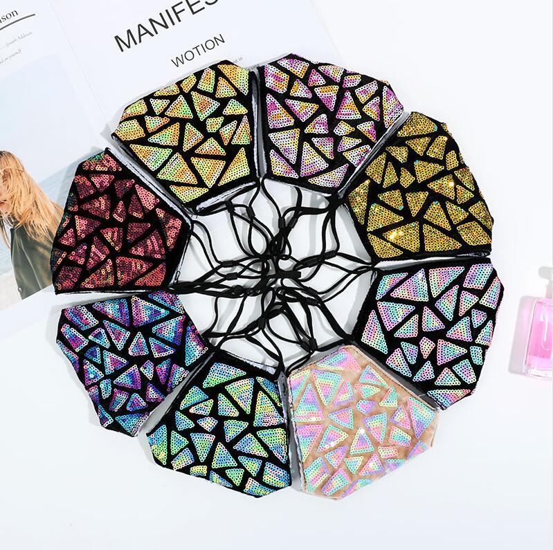 Мода 3D Bling Bling Sequin Mask Моющиеся многоразовые маски для лица MASKS Крышка ртом PM2.5 Фильтр крышка для лица Shiled Shinity Beart Mask Paeneette Party Mask
