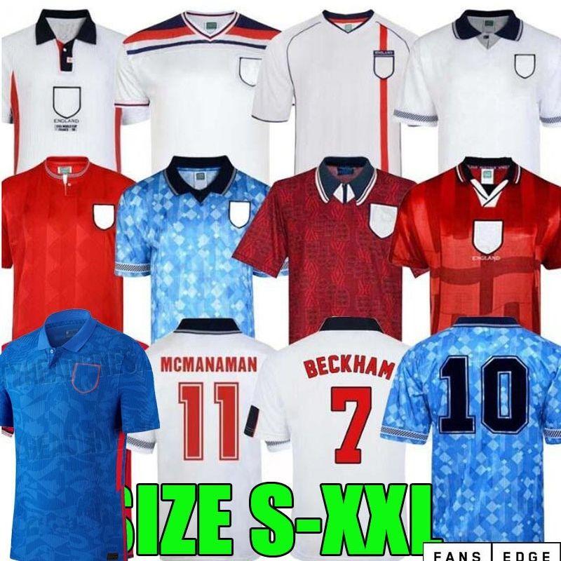 إنجلترا ريترو كأس العالم كأس جيرسي 1982 1994 1998 2002 شيرر بيكهام جيرسي 1990 1989 قميص كرة القدم جيرارد سكولز أوين 1980 هيسكي