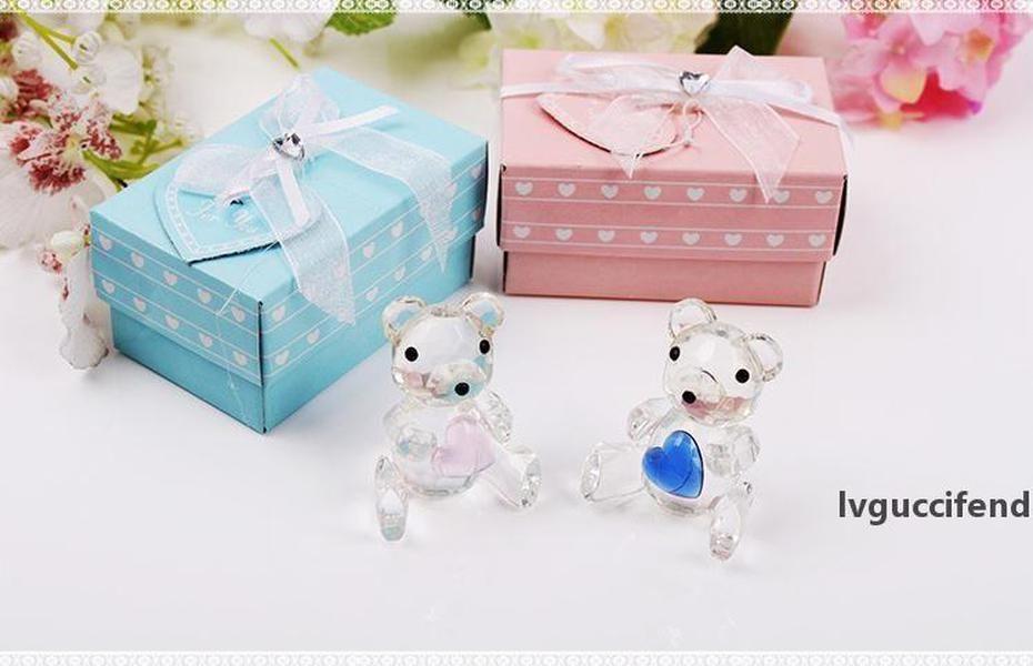 100 pcs frete grátis Crystal Teddy Bear em Caixa de Presente Azul Cristal Baby Chuveiros Batismo Batismo Presentes Lembranças Suprimentos SN435