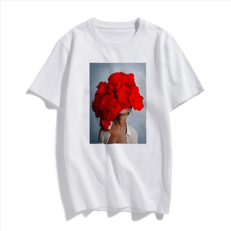 Fashion Nordic Art Sexy Red Flowers Harajuku Aesthetics T Shirt Women Vintage Short Sleeve Plus Size Cotton Top Tees Streetwear