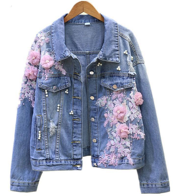 Female Autumn Denim Embroidered Hole Cowboy Short Woman Jacket Long Sleeve, Pearl Jewel Jean Outerwear R508 5no3
