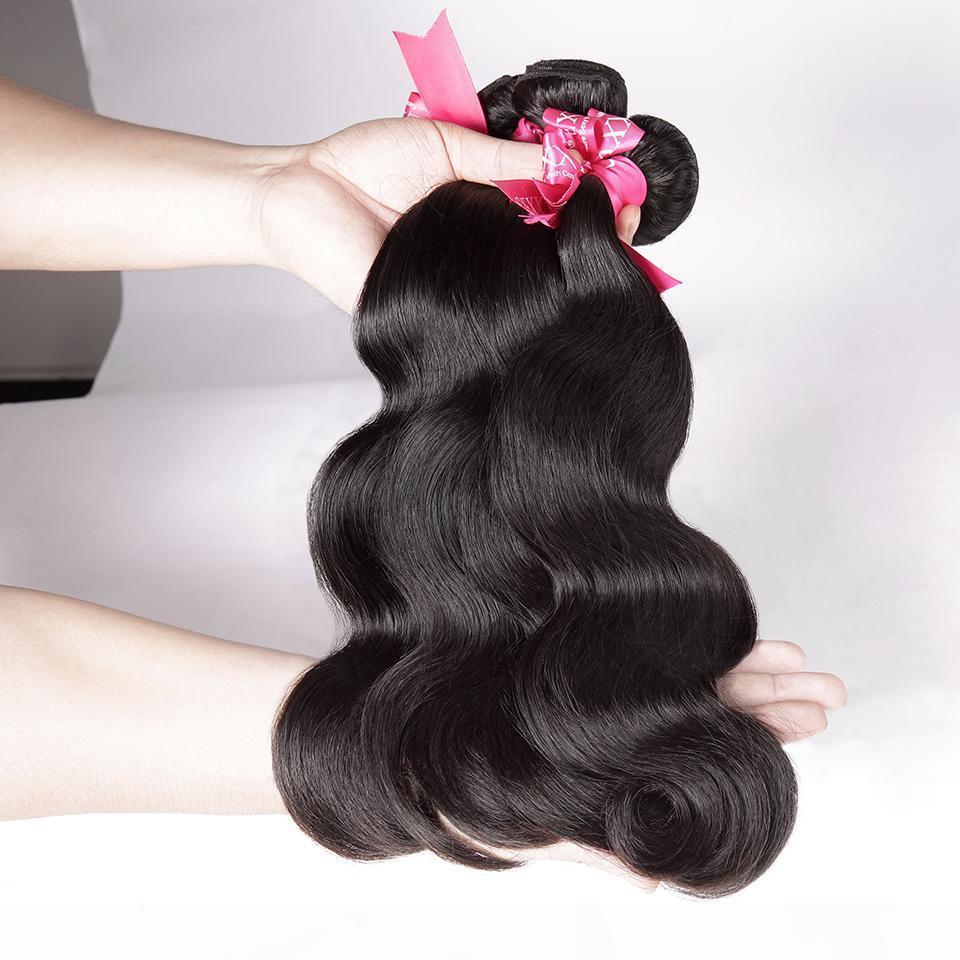 Onda del cuerpo del cabello onnecut 8-32 pulgadas P Paquetes de color natural de la Virgen India con paquetes de tejido de pelo humano frontal