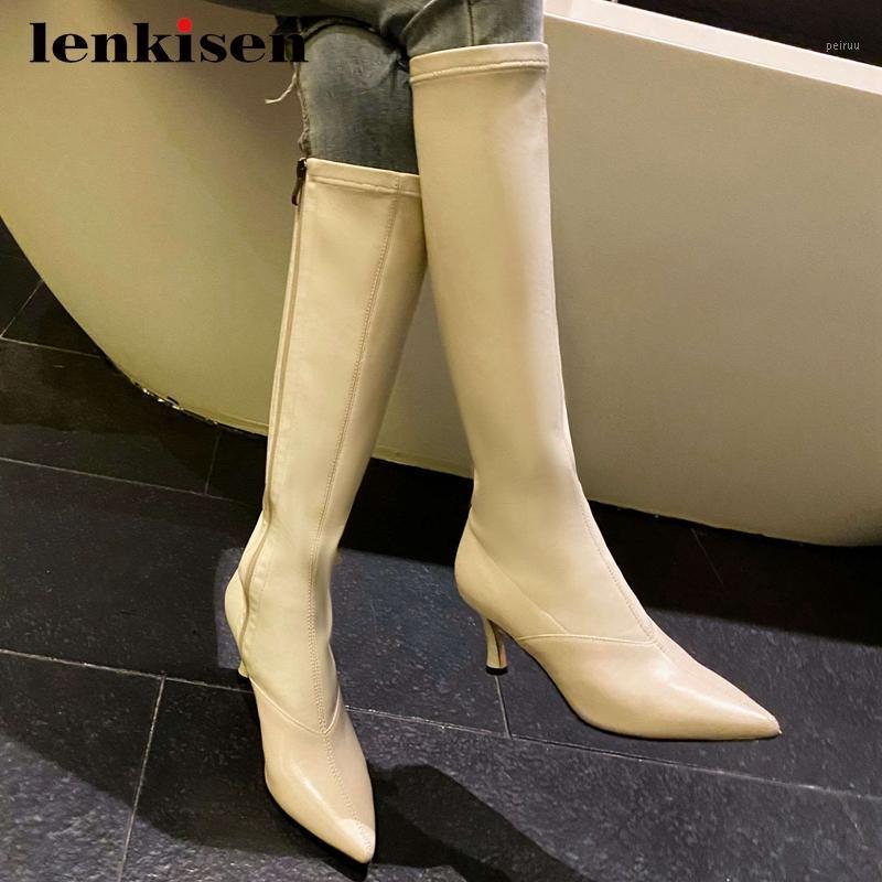 Lenkisen 2020 Bottes équestres Véritable Streetwear Streetwear Streetwear Mince High High Talon pointu Toe Zipper Beauty Lady-High Bottes L981