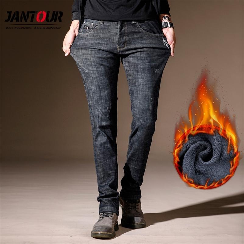 Новые зимние мужские теплые флисовые джинсы мужские растягивающиеся повседневные тощие густые джинсовые джинсовые фланелевые джинсовые мягкие черные брюки брюки мужские 201223