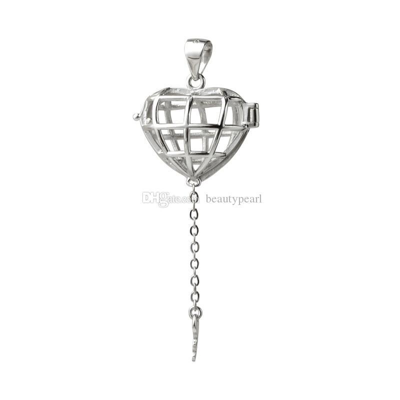 هدية قفص 925 فضة المناجد الحب رغبة العائمة لؤلؤة القلب قفص مفتاح قلادة 5 قطع