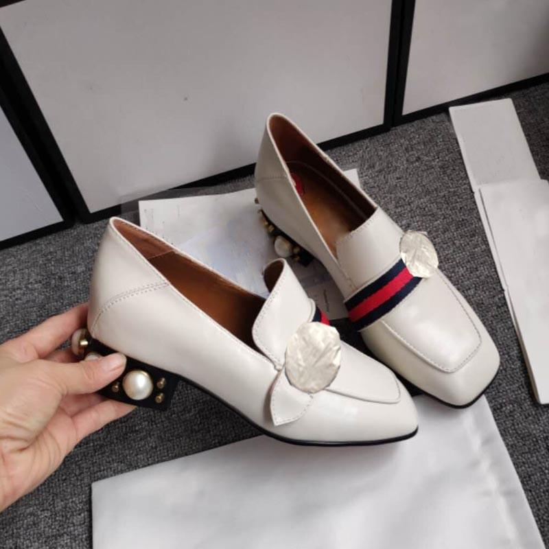 Sıcak satış-kadın elbise ayakkabı tasarımcı boncuklu moda yüksek topuklu güzel boncuklu elmas kalın topuk kadın ayakkabı