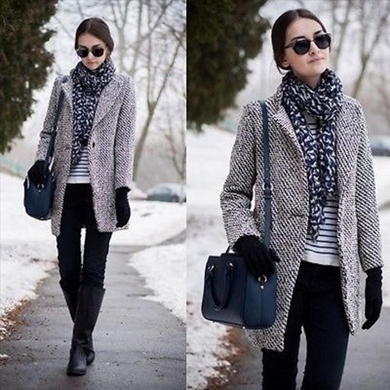 2019 Spring Automne Femme Womens Plaid Coating neuf Mode Longue Laine Manteau Slim Type Femme Winter Laine Vestes Femme Abrigos J30