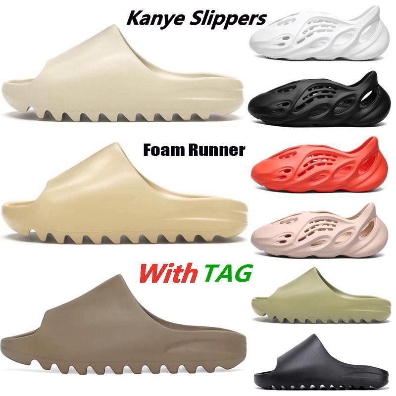 2021 New Kanye West Slides Slippers Foam Runner Desert Sand Triple Black Bone White Resin Solid Slide Sandal Women Mens Slipper Size 5-11
