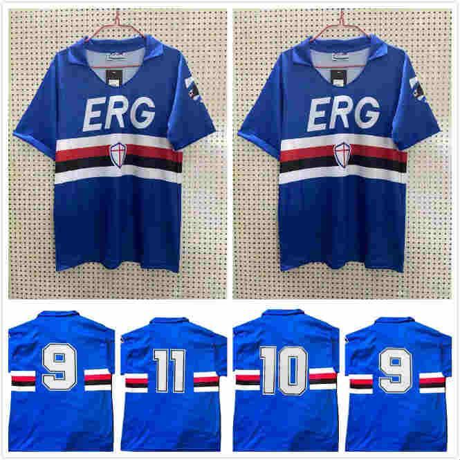 1990 1991 SAMPDORIA MANCINI Vialli Home Soccer Jersey 1990 1991 Maglie da Calcio 89 90 Sampdoria Retro Vintage Clássico Camisa de Futebol