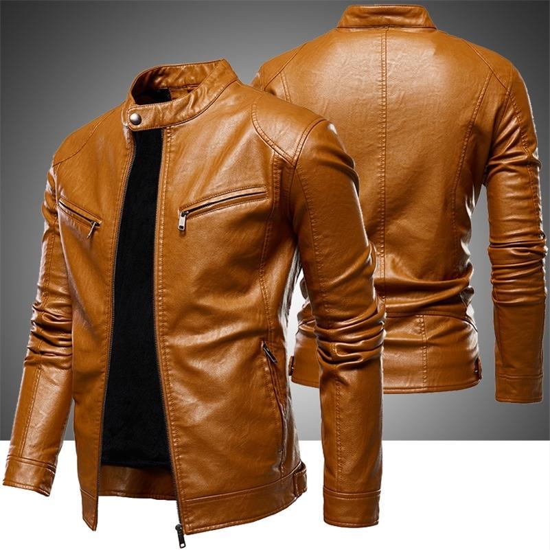 Herren Fleece Biker Lederjacken Neue Männer Einfache Stil Stehkragen Jacke Mäntel Männliche Kunstleder Bomber Outwear Mantel Mann 201215