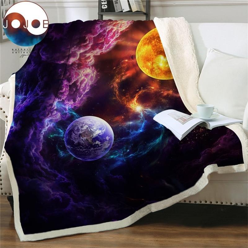 Piano di salvezza di JojoesArt Bed Blant Blanket Planet Sherpa Blanket Galaxy Nebula Morbido Peluche Peluche Peluche Peluche Spazio esterno Coperta personalizzata 201113