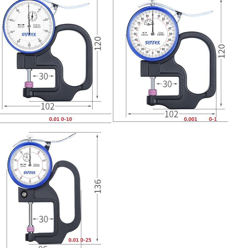 Calibro di spessore del micrometro in ceramica Elevata precisione 0.001mm Pellicola sottile Pellicola per percento Plat Flat Testa di spessore