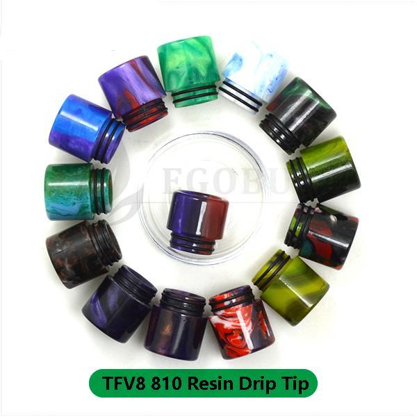 Bocchino Drip Suggerimenti 810 Clearomizer Resina epossidica Drip Colorful Drip Kit per TFV8 TFV12 Principe Big Baby Serbatoio TFV12 Atomizzatore Alien X-Baby Serbatoi