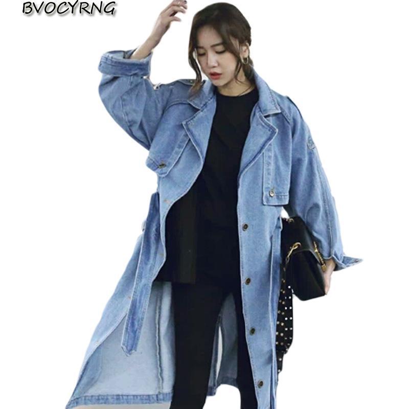 여성 트렌치 코트 2021 여성용 레저 데님 자켓 여성용 여성용 봄 긴 소매 느슨한 겉옷 윈드 브레이커 탑스 WITN 벨트 K0057