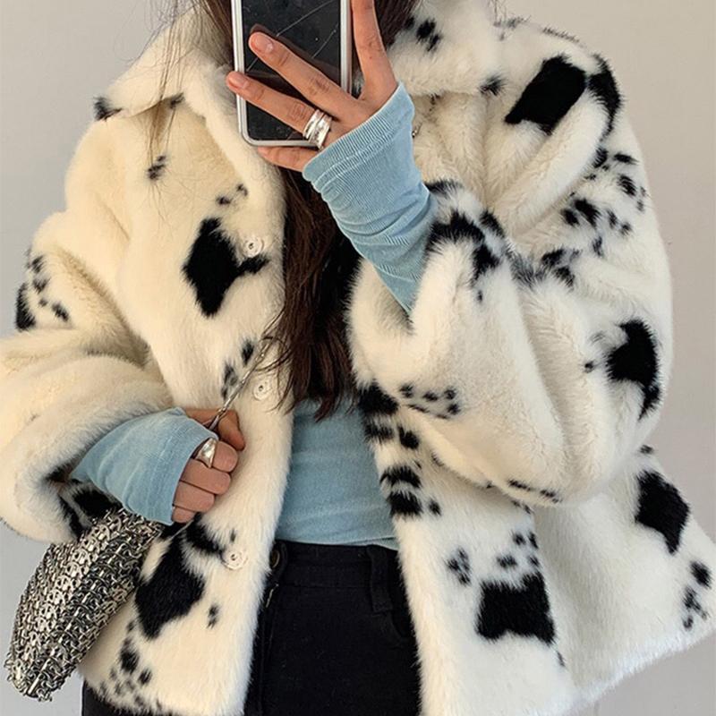 Lucyever Invierno Blanco y negro Faux Mink Abrigo de piel de mujer Cuello de rechazo corto grueso abrigo cálido coreano dulce abrigos de peluche nuevo 201029