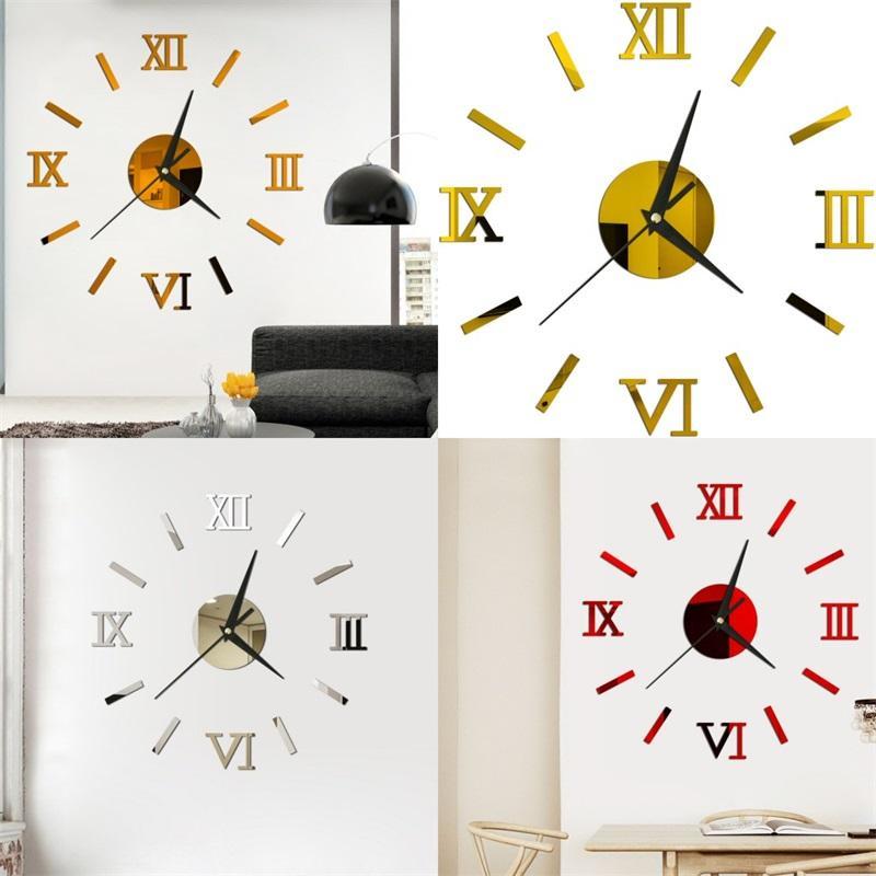 3d النسخة الحائط 3d متعدد الألوان الأرقام الرومانية مرآة مجسمة لصق diy ديكور المنزل الساعات الحديثة نمط 6YYA F2