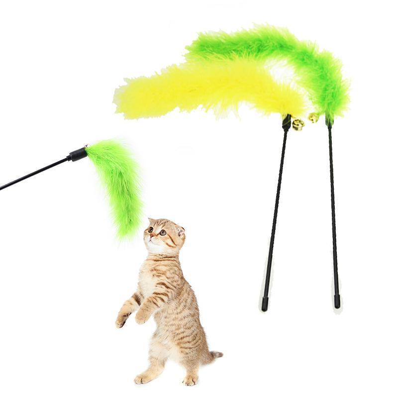 Populaire mode 1PC Couleurs aléatoires Turquie Plume de Turquie Stick Interactif Cat Chat Chaton Catcher Jouet Fun Jouer