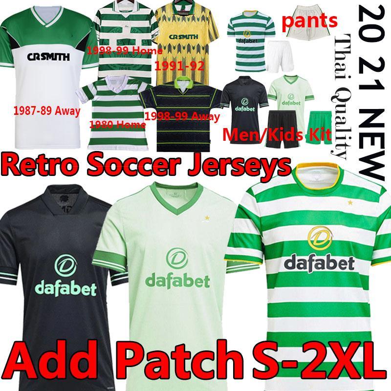 Retro Celtic 1980 87 89 91 92 98 99 Larsson Futbol Formaları Ev Uzaktan Futbol Gömlek Edouard Kahverengi Duffy KLimala Forrest Erkekler Çocuklar Üniforma