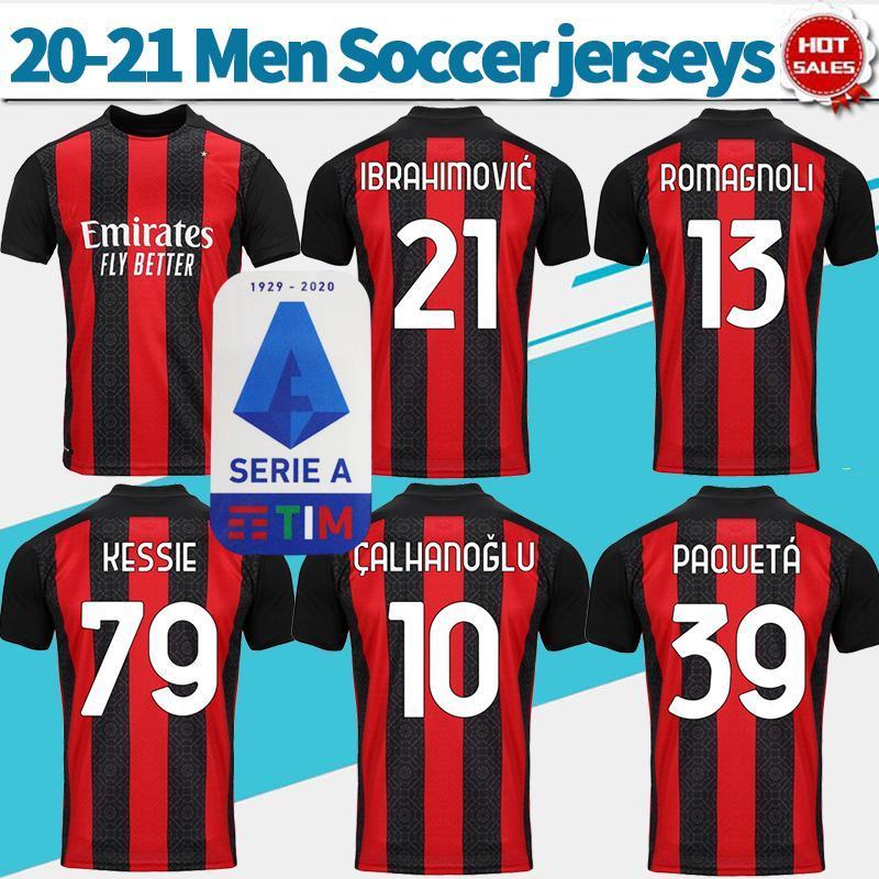 2021 # 21 Ibrahimovi Soccer Jerseys 2020/2021 Inicio # 10 Calhanoglu # 13 Romagnoli Camisas de fútbol personalizados Hombres Uniformes de fútbol