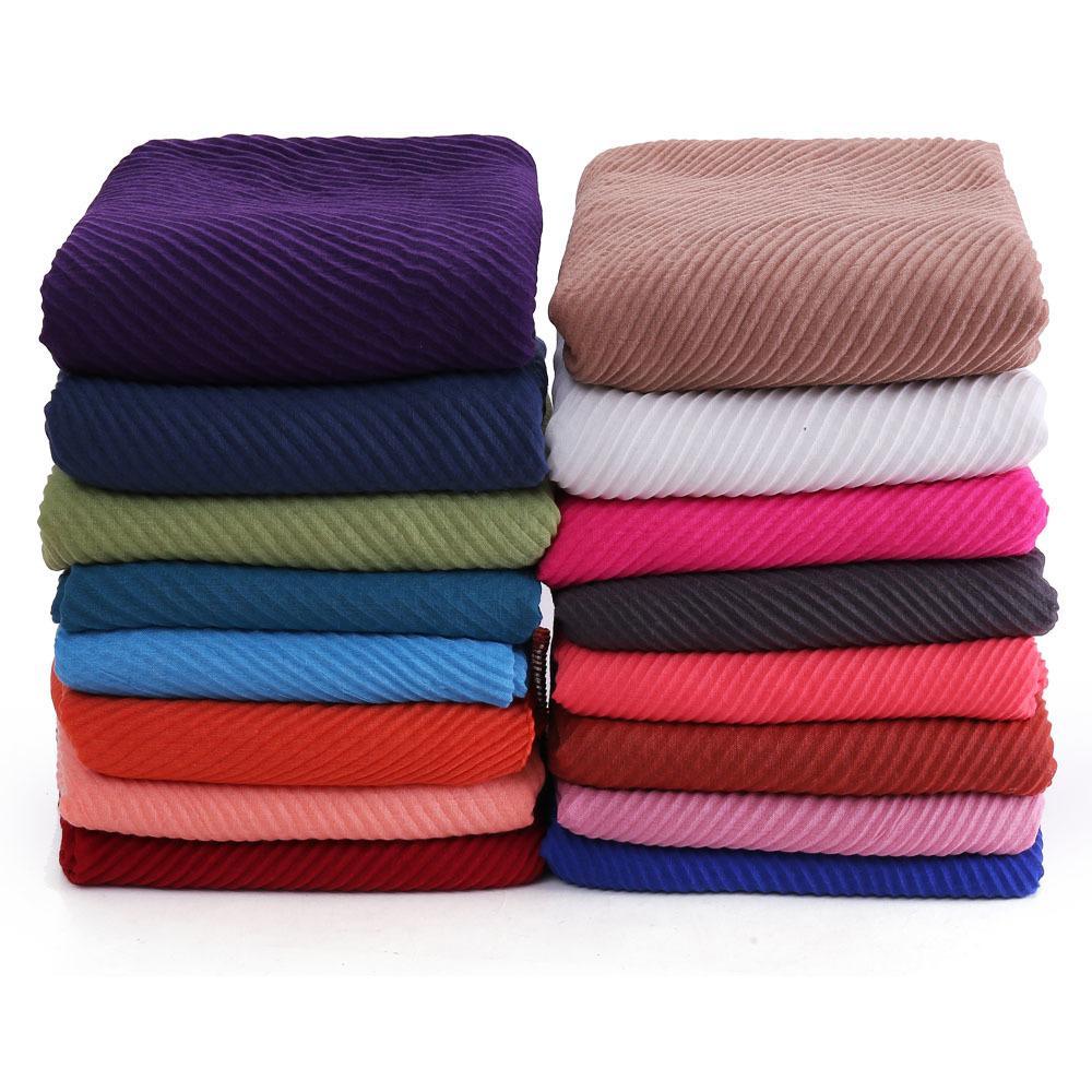 10pcs / lot donna pieghettata pieghettata Cruince Hijab sciarpa musulmana testa wrap scialle grande taglia 180 * 90 cm J1215