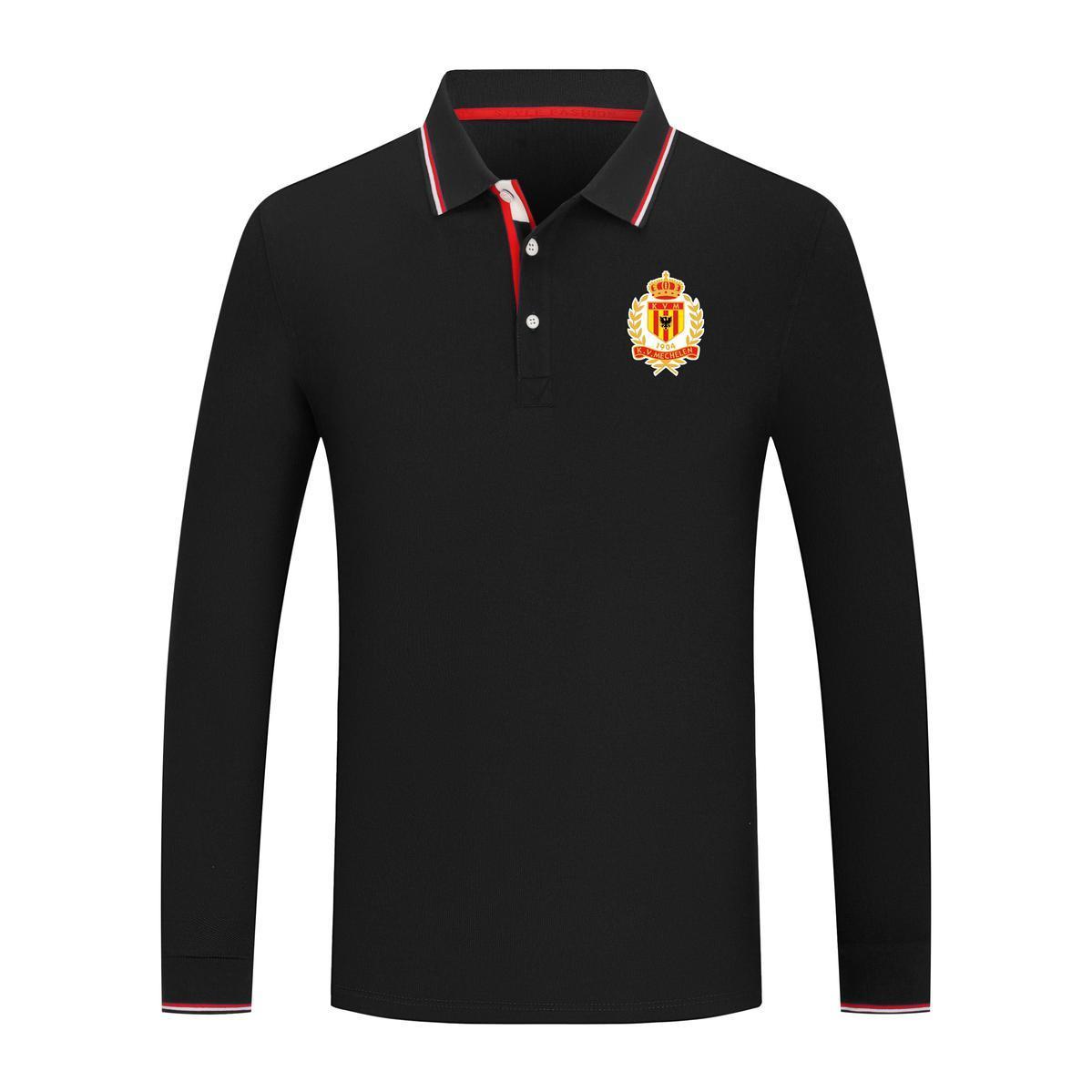 2021 KV Mechelen Nuevo manga larga solapa deportiva polo camisa algodón color puro ocasional hombre camisa de polo de alta calidad Serie de golf Jersey