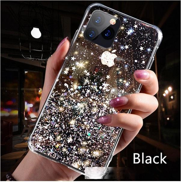 Luminoso caso de la cubierta suave transparente TPU funda de lujo de Bling de las lentejuelas de la estrella del brillo teléfono para el iPhone XR X 11 Pro XS MAX 6 7 8 6S Plus