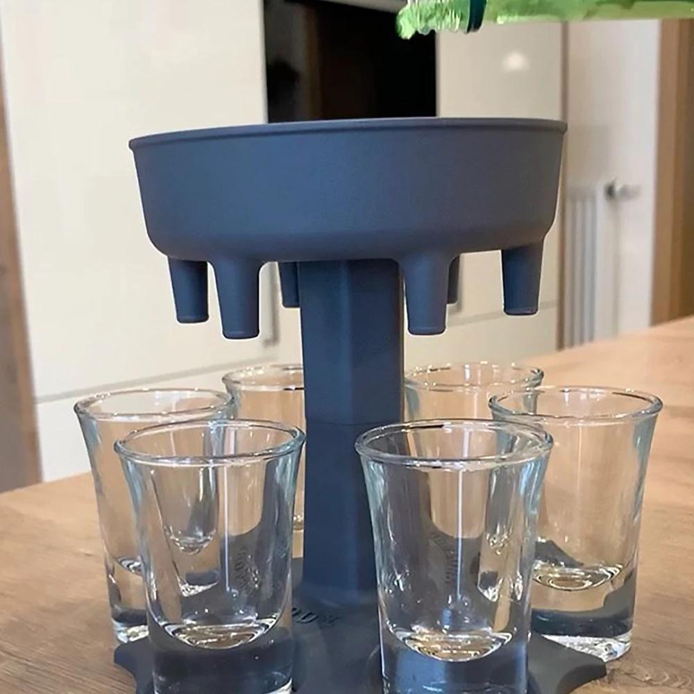 6 Toma de vidrio Dispensador Holder Bar Herramienta Portador Caddy Liquor Party Beber Juegos Cocktail Vino Cerveza Relleno rápido V3
