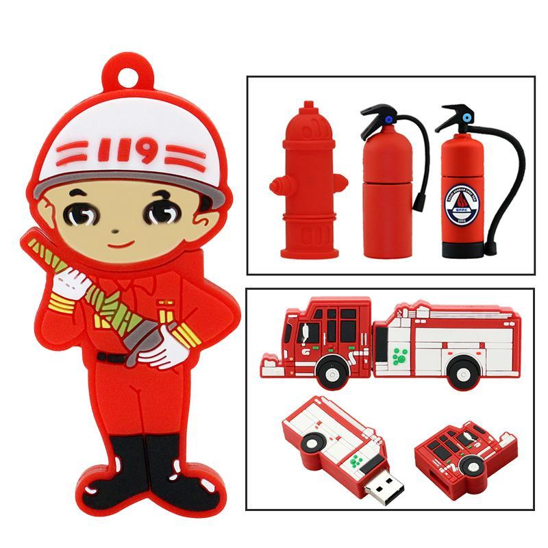 Мультфильм Fireman Pendrive Fire Truck / Water Chaplent USB флэш-накопитель 32 ГБ 16 ГБ 8 ГБ 4 ГБ памяти памяти огнетушитель