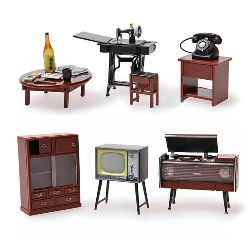Odoria 6 adet 1:24 Japonca Vintage Mobilya Dollhouse Minyatür Aksesuarları Buzdolabı Magnet Seti Dekor Oyuncak Hediye 201021