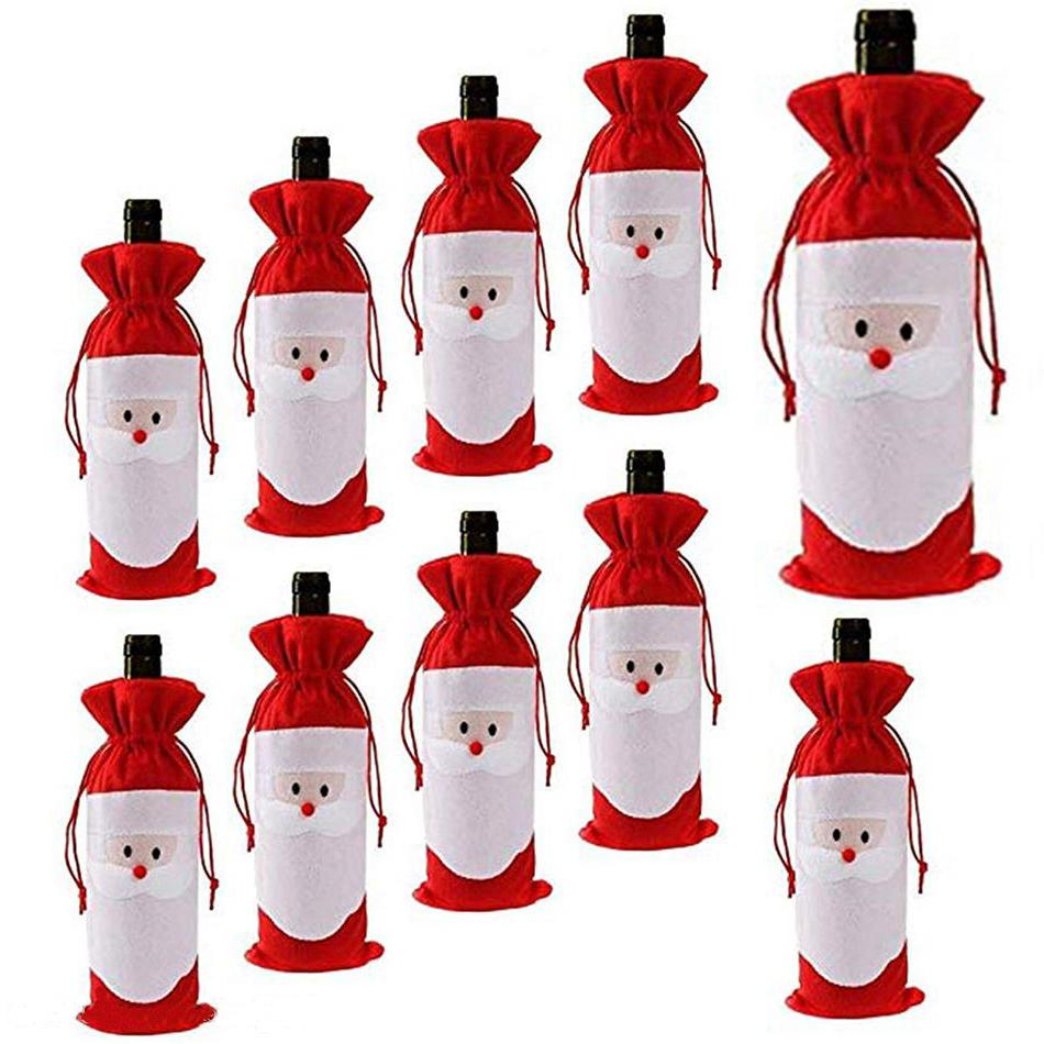 1pcs Santa Claus Gift Bags Christmas Decorations Red Wine Bottle Cover Bags Xmas Santa Champagne Wine Bag Xmas Gift Wholesale