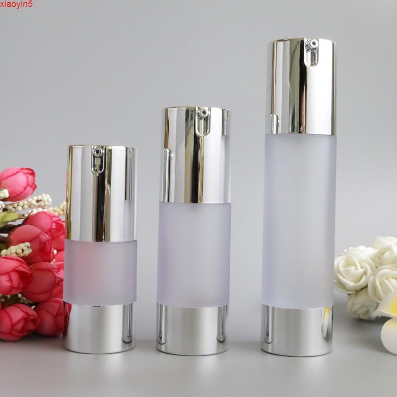 Airless 15ML 30 мл 50 мл Пустой вакуумный насос Туалетное сосуд Косметическая матовая бутылка Мини прозрачный лосьон макияж контейнер 10 шт.