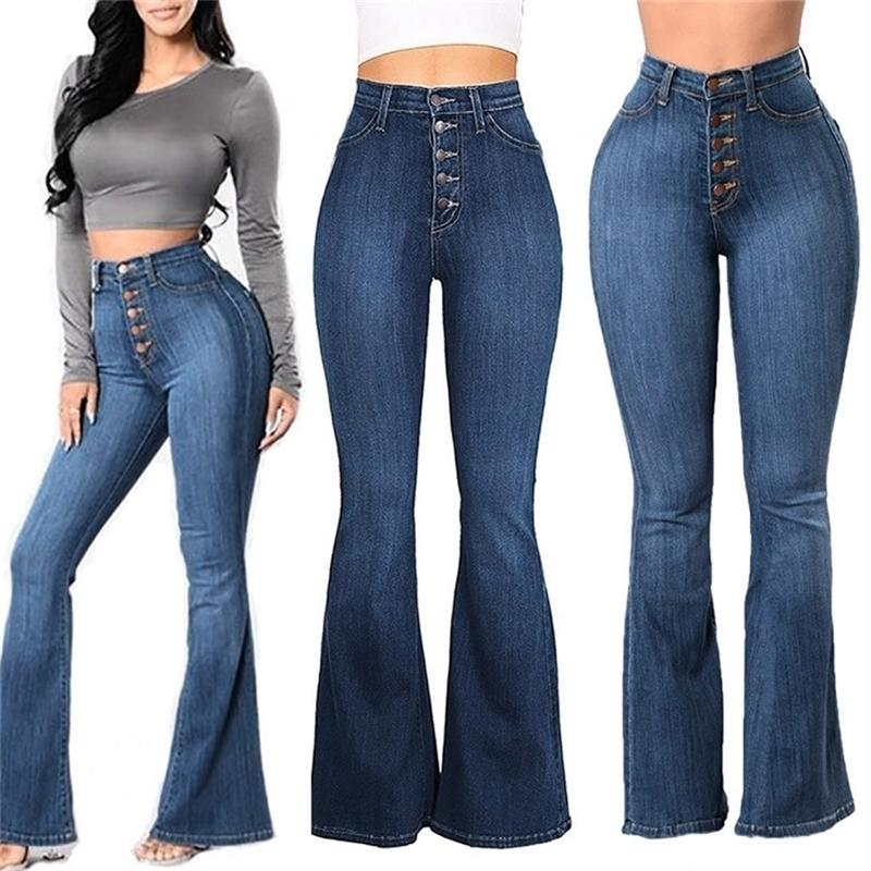 Женщины осенью эластичный плюс сыпучих джинсовые джинсовые джинсы с высокой талией новая карманная кнопка вскользь джинсы брюк вырезанные ботинки # R25 201223
