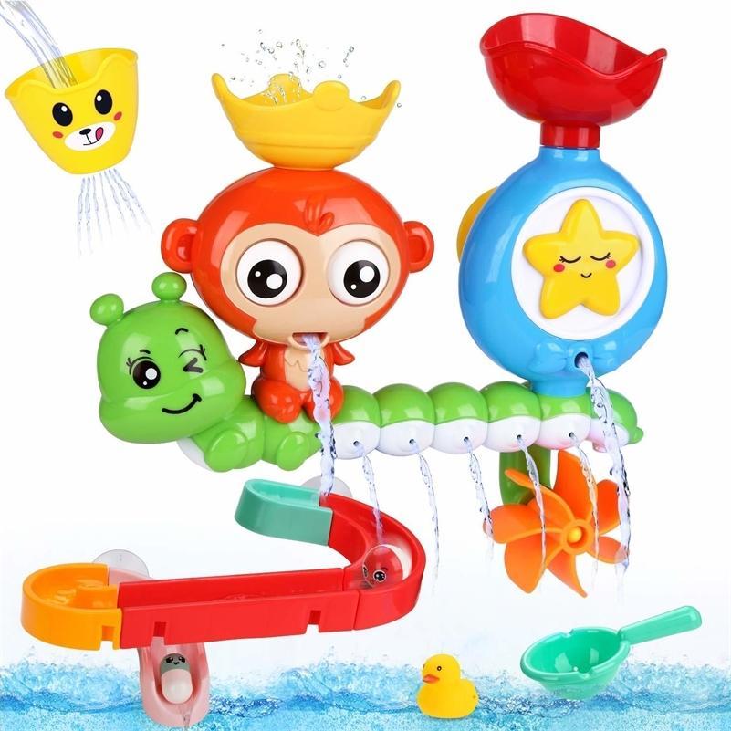 Baby Cartoon Affe Klassische Dusche Bad Spielzeug 14 Stücke Dusche Tier Starfish Besprühen Badewanne Spielzeug Set für Kinder LJ201019