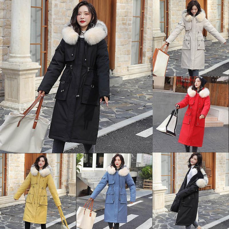 Giacca da donna in basso Parka Giacca invernale Donne Cappotti Addensare Cotton imbottito Attrezzo moda lungo Slim Cappotto con cappuccio