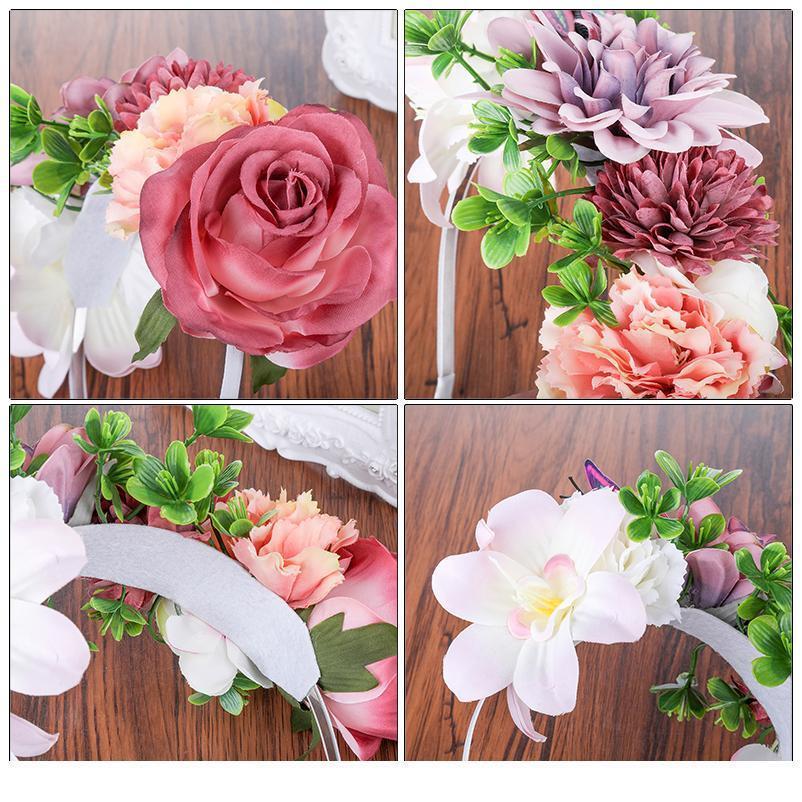 Haimeikang Boho 꽃 크라운 헤드 피스 여성 웨딩 플로랄 헤드 화 환 신부 들러리 신부 헤드 피스 여성 꽃 Qylvyd