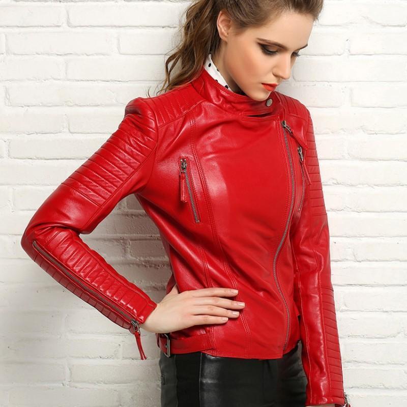 Мода 100% настоящие овчины пальто женские натуральные кожаные куртки короткий тонкий мото байкер куртка для женщин плюс размер jaque de curo1
