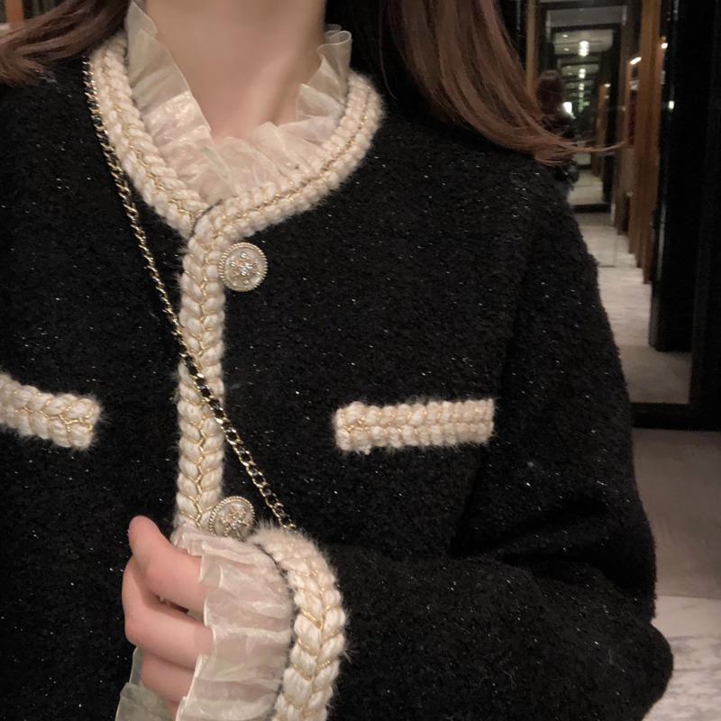 Cordillo brillante tweed female abrigo mujer chaqueta primavera otoño ropa exterior abrigos estilo de canal ZA traje recortado Striped Kawaii J0112