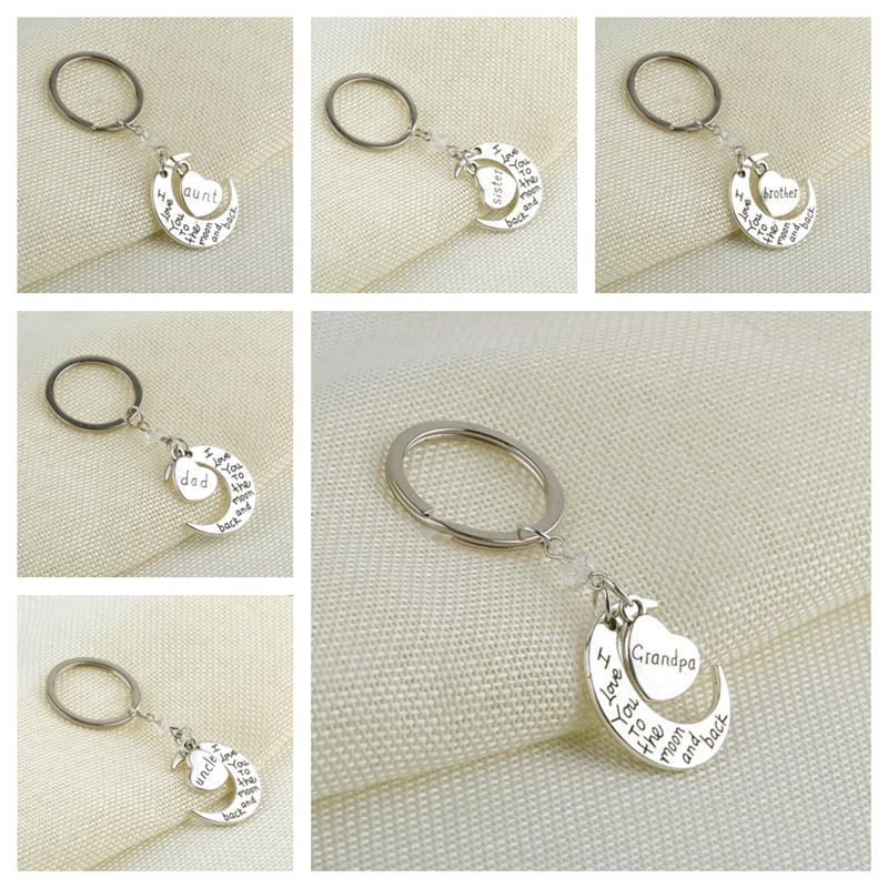 Ti amo alla luna e alla schiena Keychain Crescent Moon Heart Shape Family Member Key Ring Metal Circle Charm Bag Pendenti Key Pendants Toys E112702