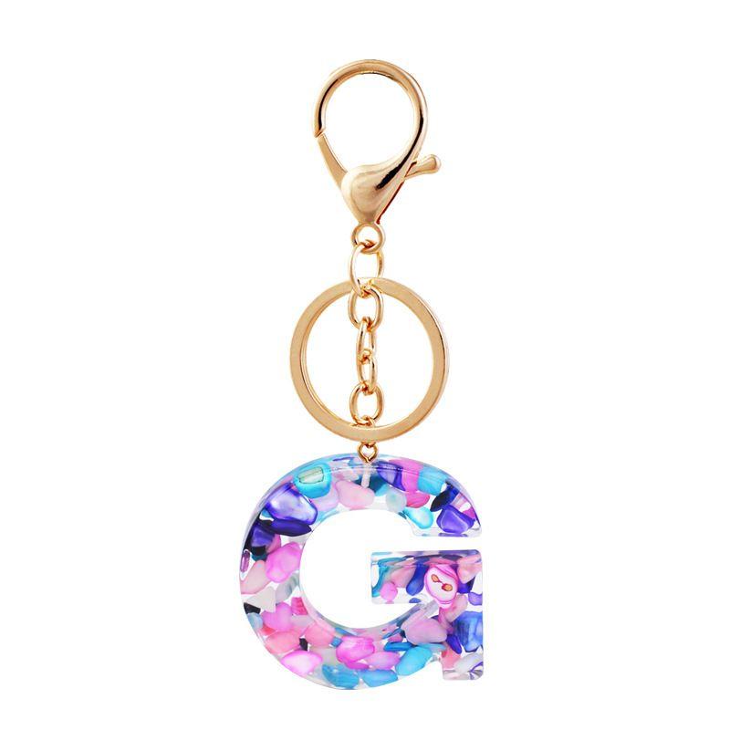 Популярные 26 букв Акриловые с красочными камнями Ключ Ключ Цепочка для держателя телефона Подвесное ожерелье может быть выбрано