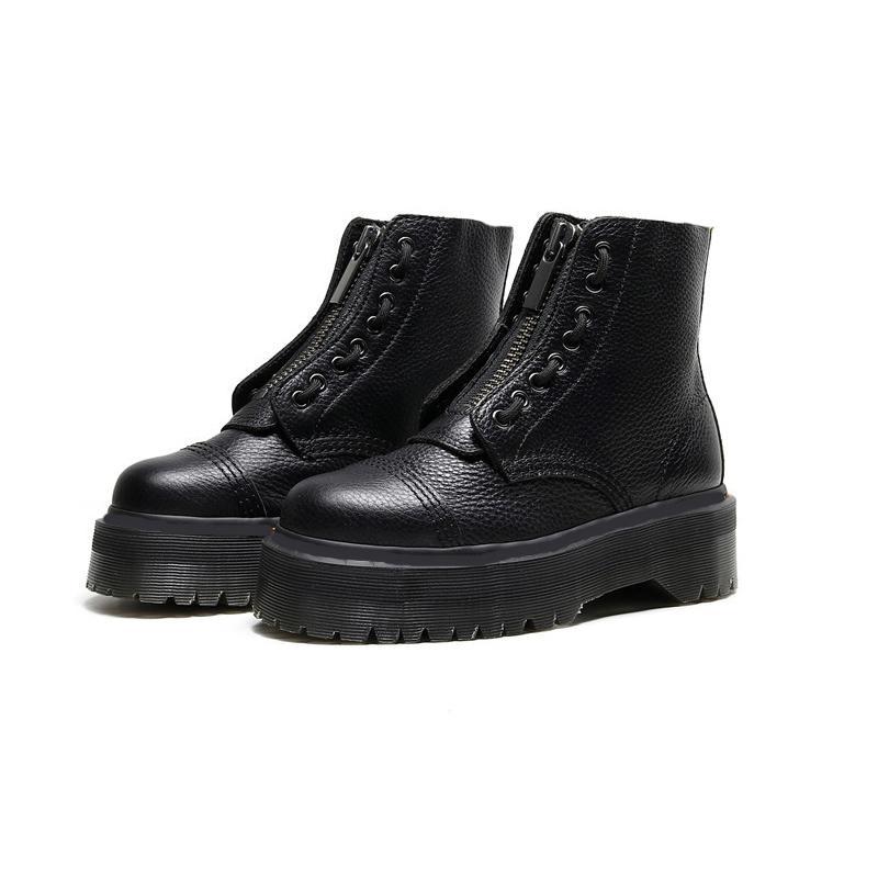 Mulheres Platform Bottes 8 Furos Front Zipper Couro Macio Designer Curto Ankle Booties Black Frauen Stiefel