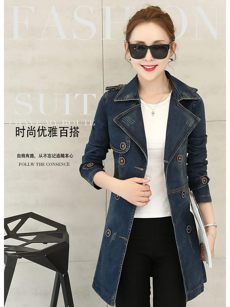 Trench coat for women 2020 Autumn New European style High-end custom Double Breasted Denim Trench Female Casual Overcoat