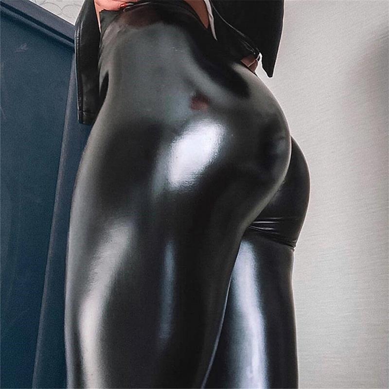 Outono faux pu calças de couro mulheres mulheres olhar leggings estiramentos de estiramentos altos cintura elástica plus tamanho tamanho grande 5xl 4xl 3xl inverno