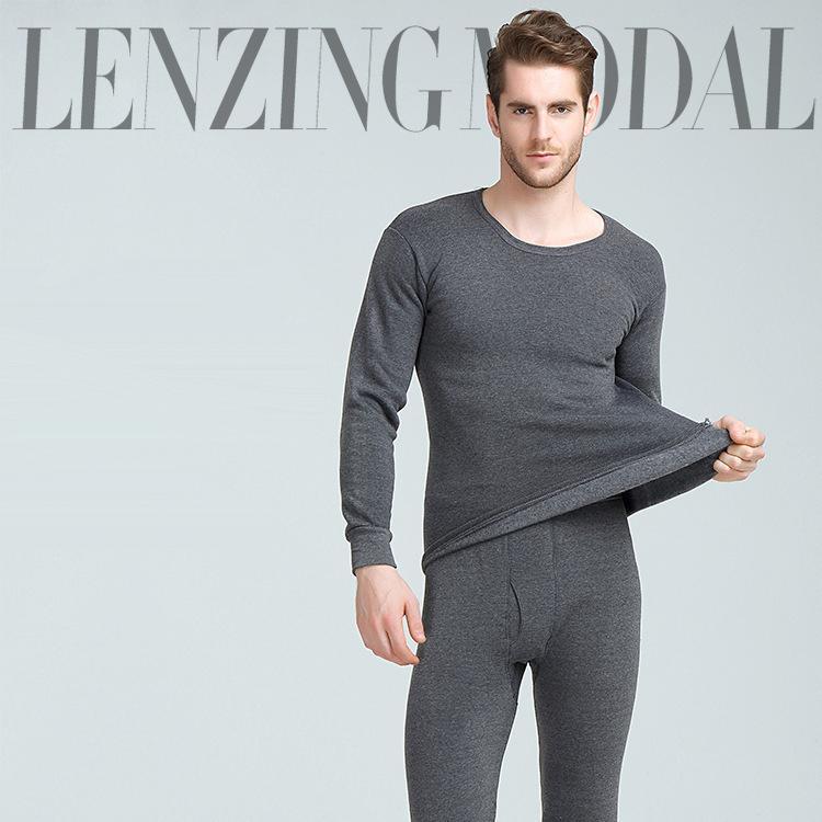 Homens de inverno Long Johns Engrossar Mens Underwear Térmica Conjuntos de Moda Veludo Quente Long John O-pescoço Undershers Thermal Calças
