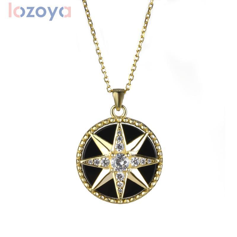 Лозоя 100% 925 Стерлингового серебра Восьмиконечная звезда Форма Кулон Ожерелье 2020 Свадьба Дружба Ювелирные Изделия