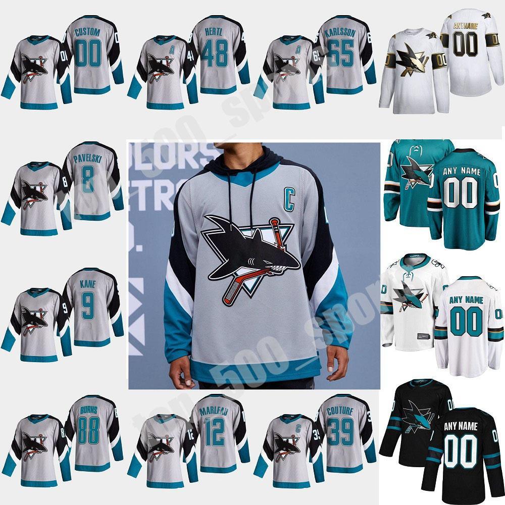 San Jose Sharks 2021 Reverse Retro Hockey Jersey 88 Brent Burns Jersey Logan Couture Joe Thornton Erik Karlsson Evander Kane 사용자 정의 스티치