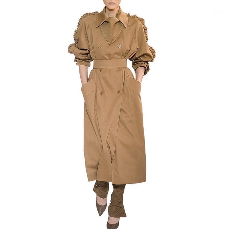 Omikron NOUVEAU AUTOMNE TOP FEMMES Casual Casual Couleur Solide Couleur Double Outwear Sashes Bureau Manteau de bureau Design Longue Casual Trench1