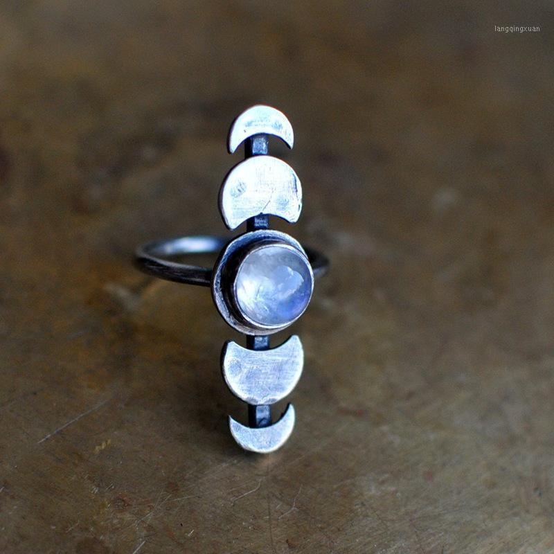Обручальные кольца старинные лунные фазовые кольца ручной работы лунный камень пальцем полоса подарка ювелирные изделия проверуют яркий или тусклый, и она может воскреснуть Wane1