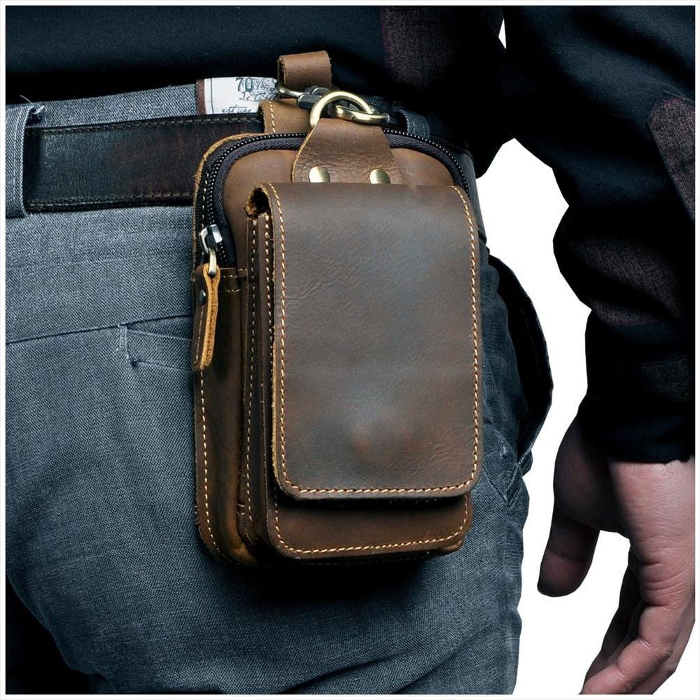 "Real Case Cowhide Casual Design Design Sigaretta Borsa da uomo in pelle Moda Hook 1609 Vita Vita Phone Phone Pack Small Bag 5.5 ""Cintura Cintura Bum Lupam"